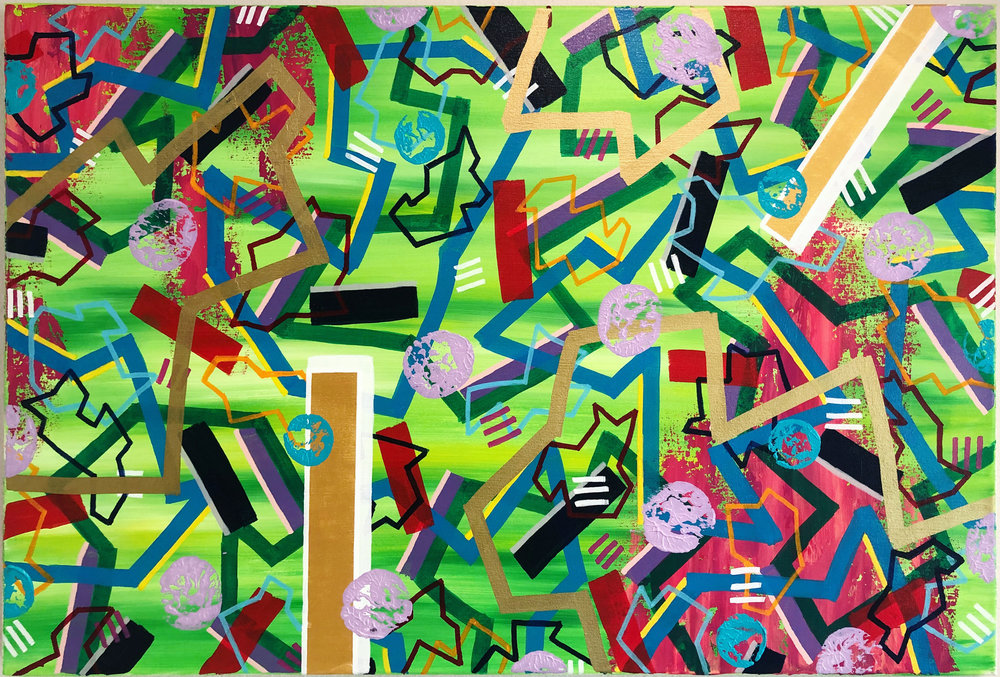 Crazy Shapes, 2018. Acrylic on Canvas, 24 x 36 inches