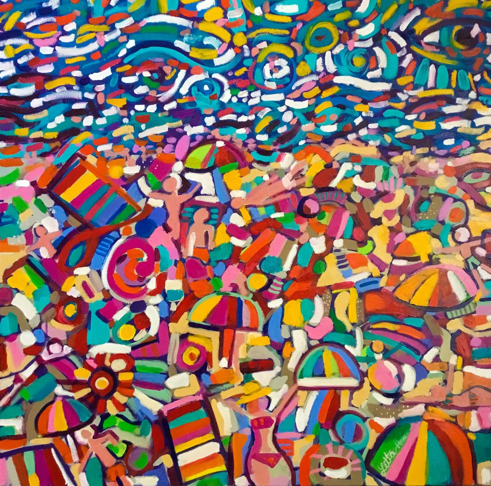 The Beach, 2017. Oil on canvas, 36 x 36 inches