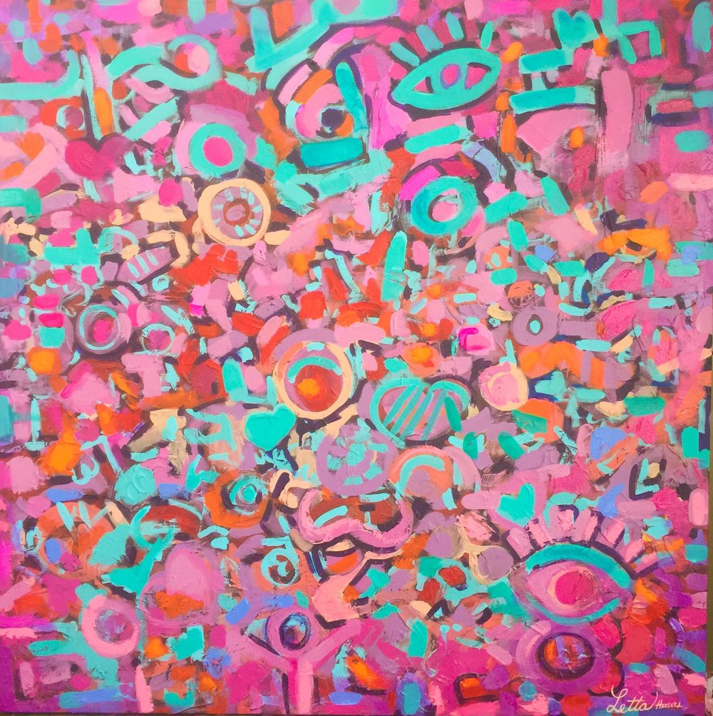 Pink Dream, 2018. Oil on canvas, 36 x 36 inches