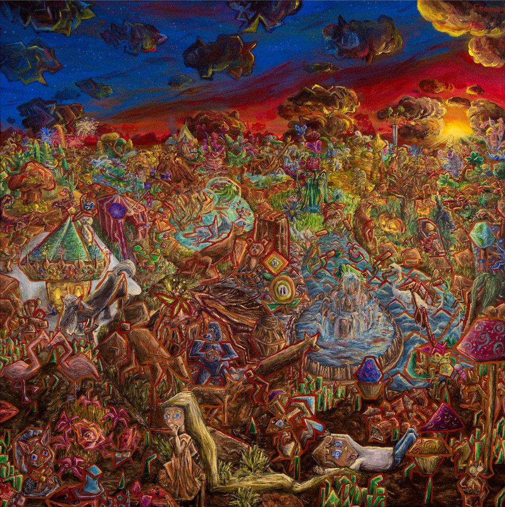 A Garden of Vivid Visions, 2018, acrylic, 30 x 30 inches, $850