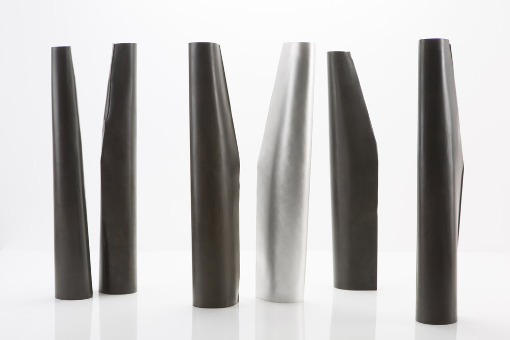 Tall Vessels, 2016, Patinated Gilding Metal and Sterling Silver, 200 x 500 x 1000 mm, $18,800