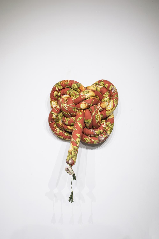 "Knots III, 2018, Soft Sculpture, 27"" x 20"" x 8"", $300"