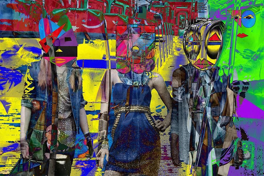 Fashion Show On The Train, 2018, Canvas, 27 116 H x 40 516 W, $6,500
