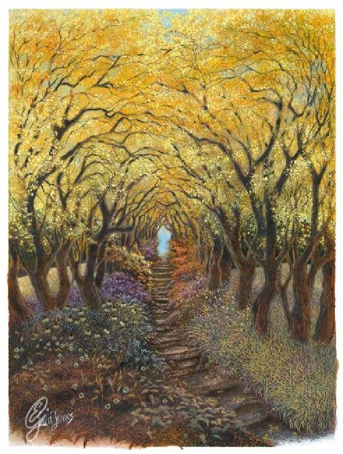 Fall Flowered Path, 2018, color pencil, ink, water color, 14 x 17 inches, original $1200, giclee print $140