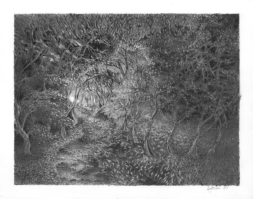 THE Path, 2017, black pen and ink, graphite pencil, gouache, 11 x 14 inches, original $989, giclee print$140