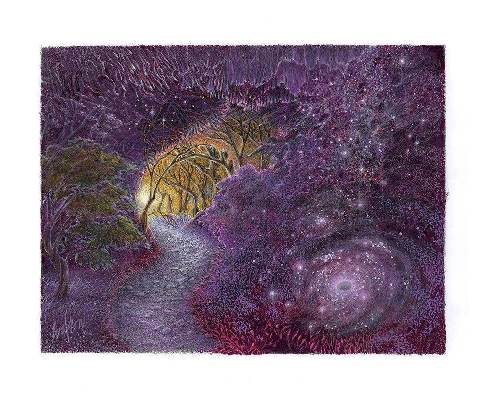 Pathway to the Universe, 2018, color pencil, ink, 14 x 17 inches, original $1200, giclee print $140