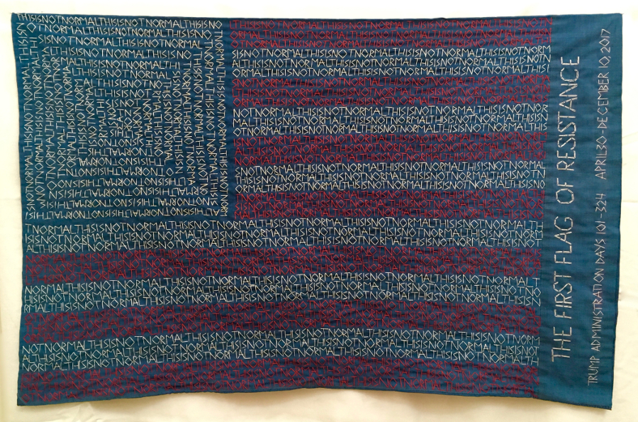 The First Flag of Resistance, 2017. Hand embroidery on re-purposed pillowcase, 30 x 19.5 inches. NFS