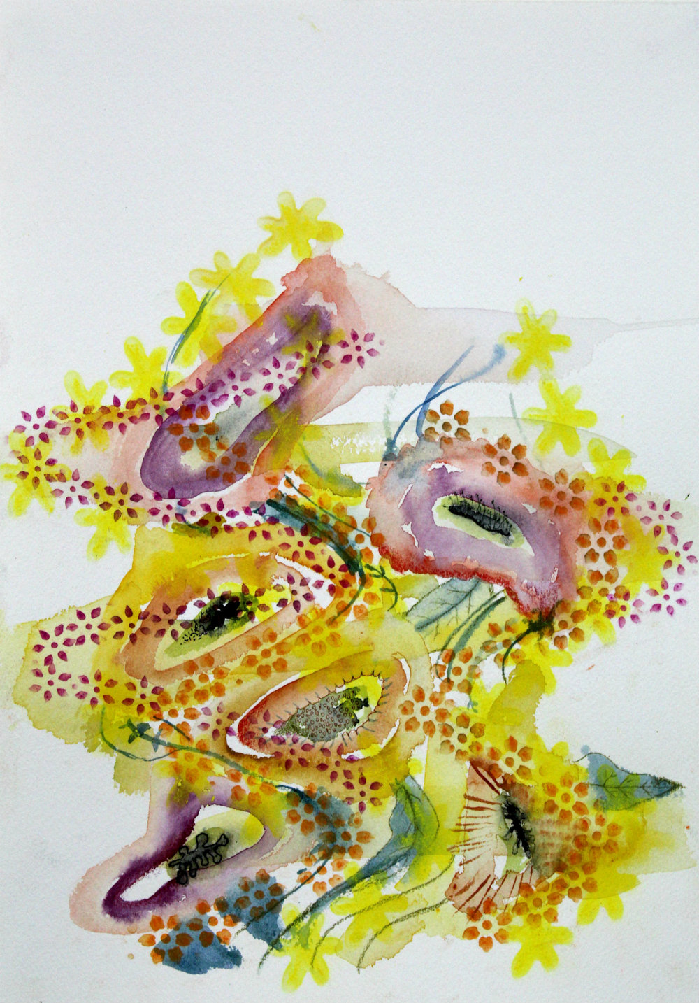 Zwabble, 2019, Watercolor and pastel on paper, 11 X 14 inches, $150