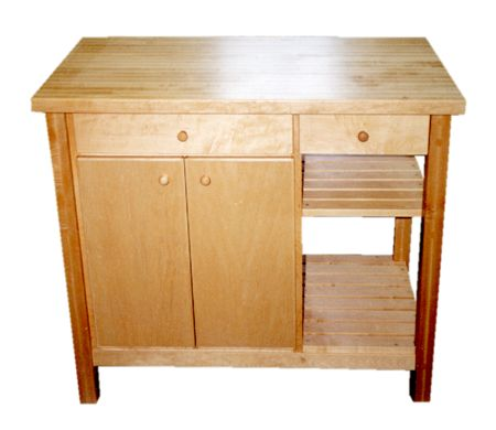 Maple Butcher Block Island - Two Drawers, Two Shelves1.5