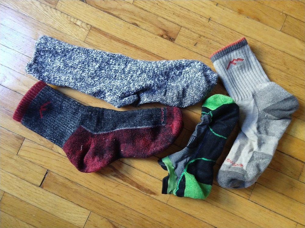 A diverse arrangement of socks