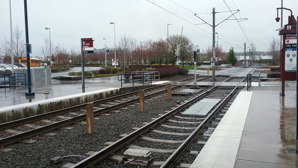 Taking the light rail in Portland, Oregon.