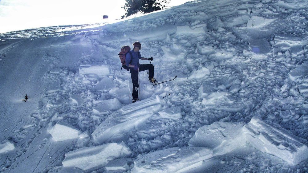 Dropping a cornice onto a slope