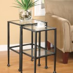 glass metal nesting tables