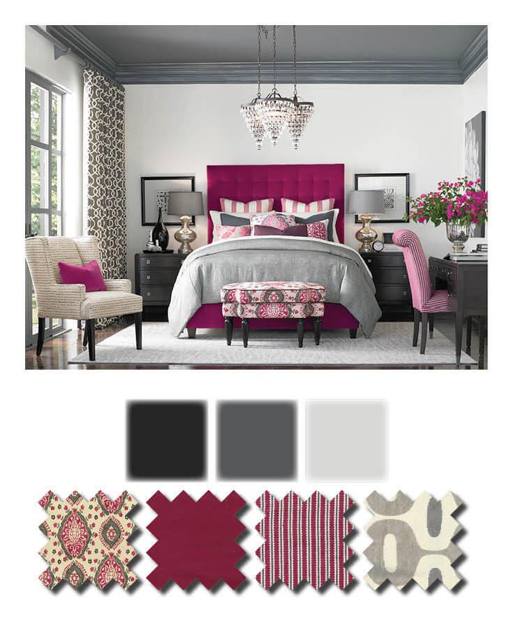 Fushia and Greige Bedroom