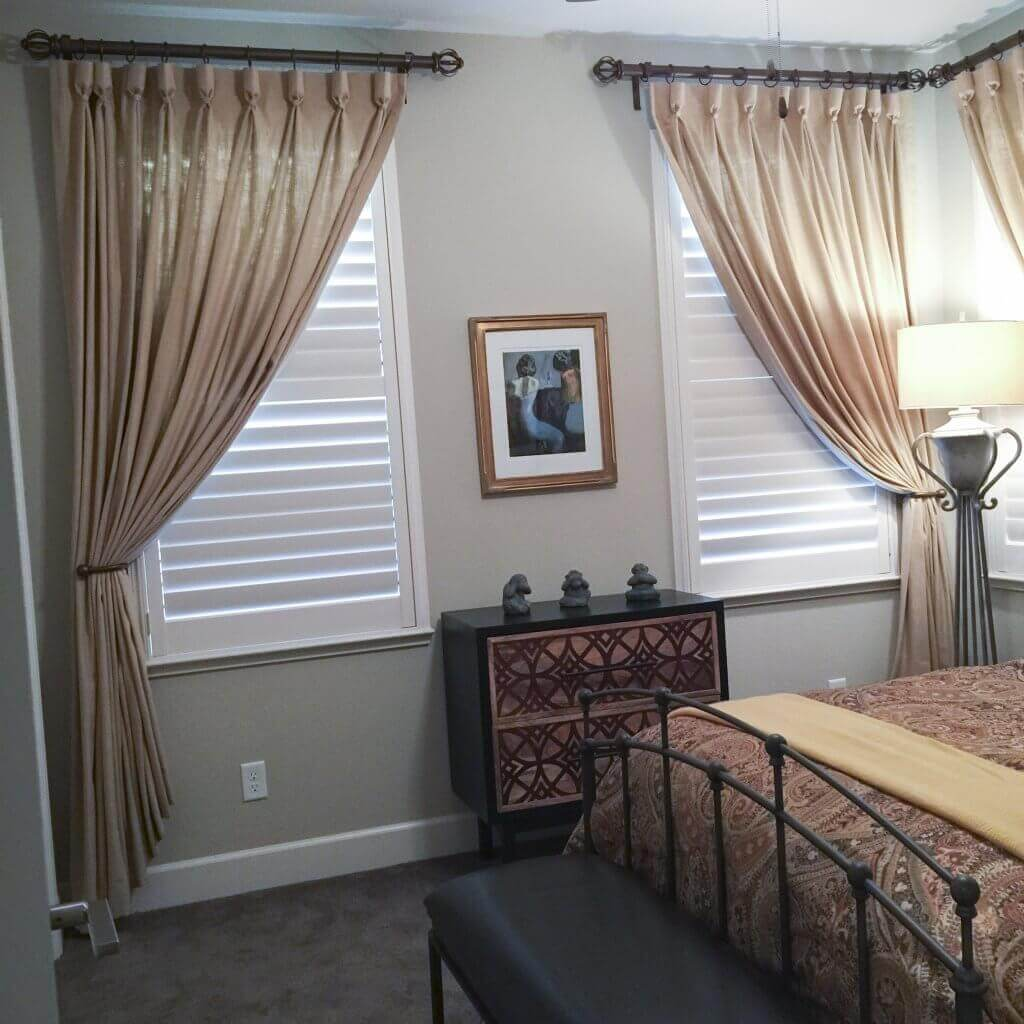 Goblet Pleat Over Shutter. Even if you have shutters, you still need to dress them up.