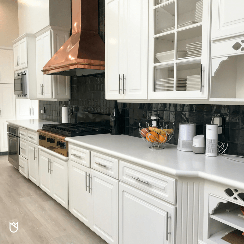 The cheap cabinet pulls were swapped out for sleek and modern stainless steel pulls. We were limited on our choices because we had to find a pull that was the same size as the old pulls