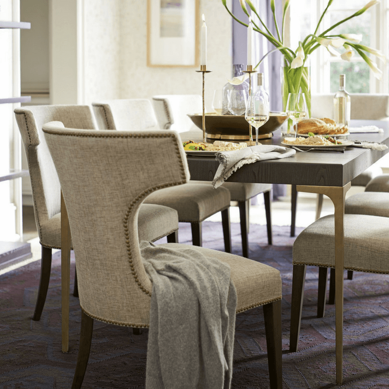 You can pick all sorts of seating for your dining room. You can have all the chairs match, or you can mix and match the chairs - just make sure something ties them together such as the same