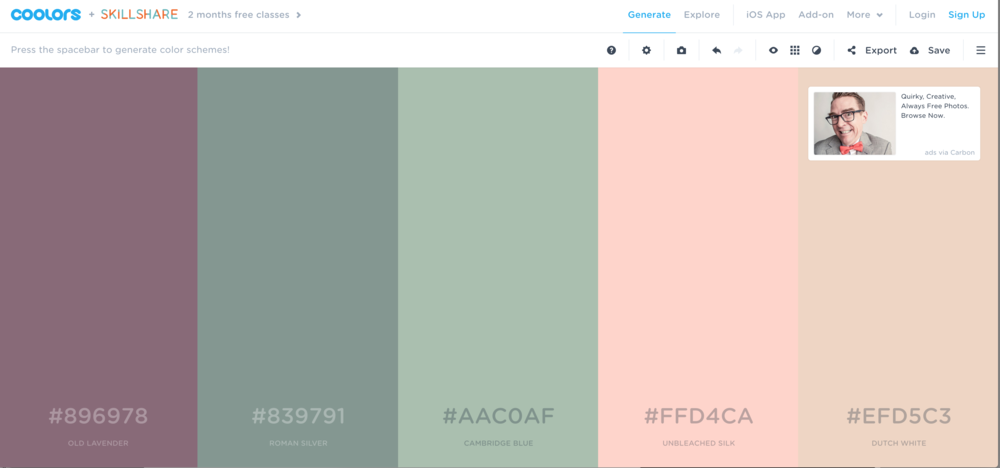 Pressing the space bar under the Generate tab you can see a new palette emerge.