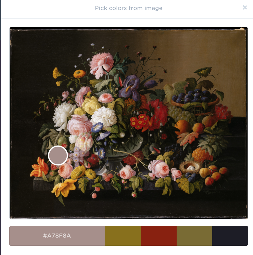In this same program, upload an image and it generates a color palette based on the image. You can move the dot to pick new colors.