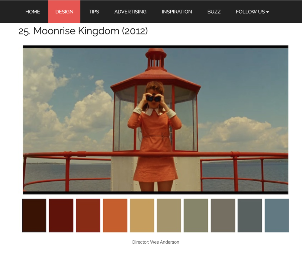 Various examples of popular films and the color palette that can be pulled from the scene.