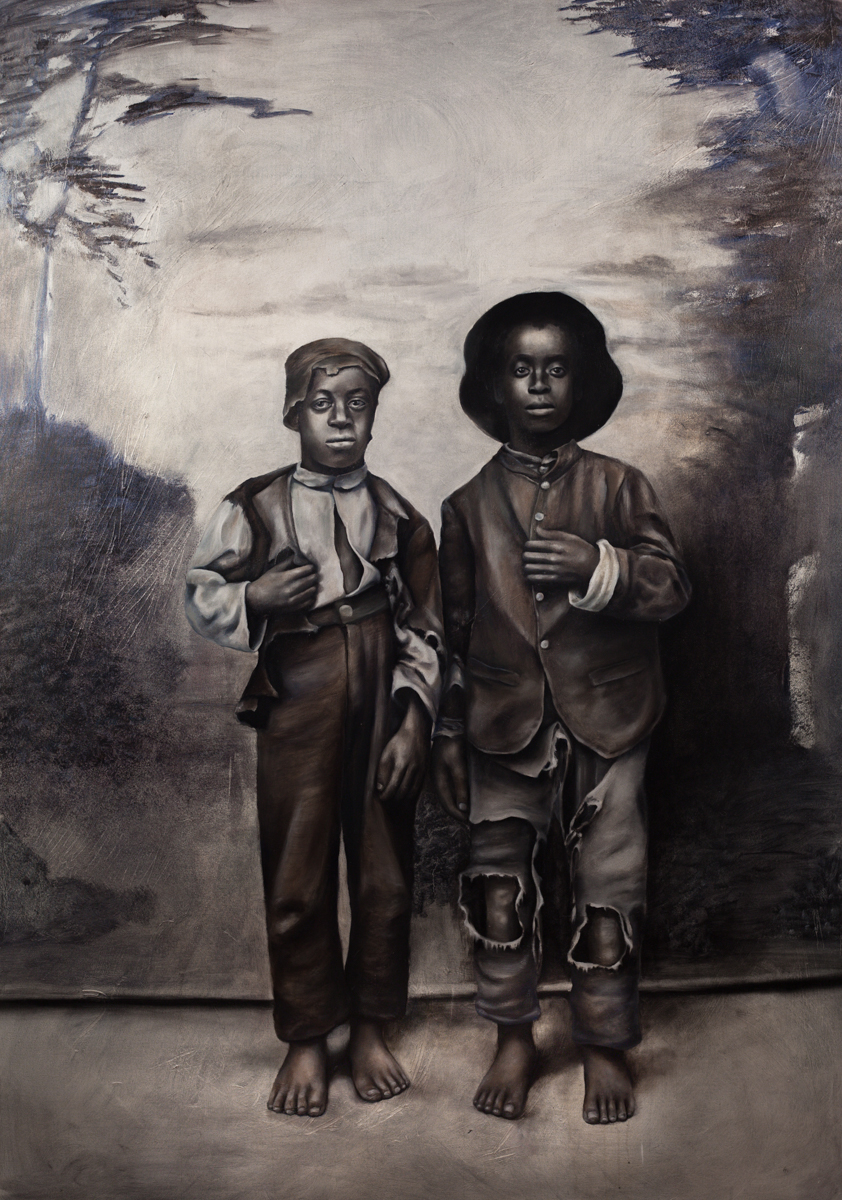 """[Two African American boys, full-length portrait facing front]"""