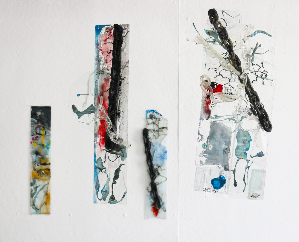 10,000 series  (2018) glass, mdf, ink, resin, crayon.