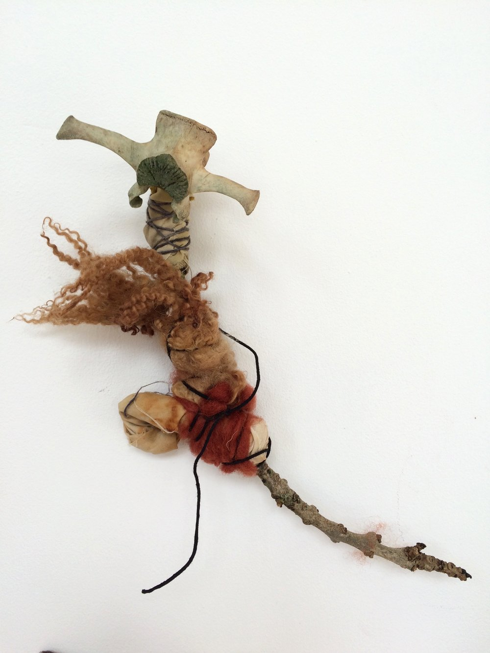 Onion fairy,  2017 hazel twig, wool, cotton, deer vertebrae, thread h22cm