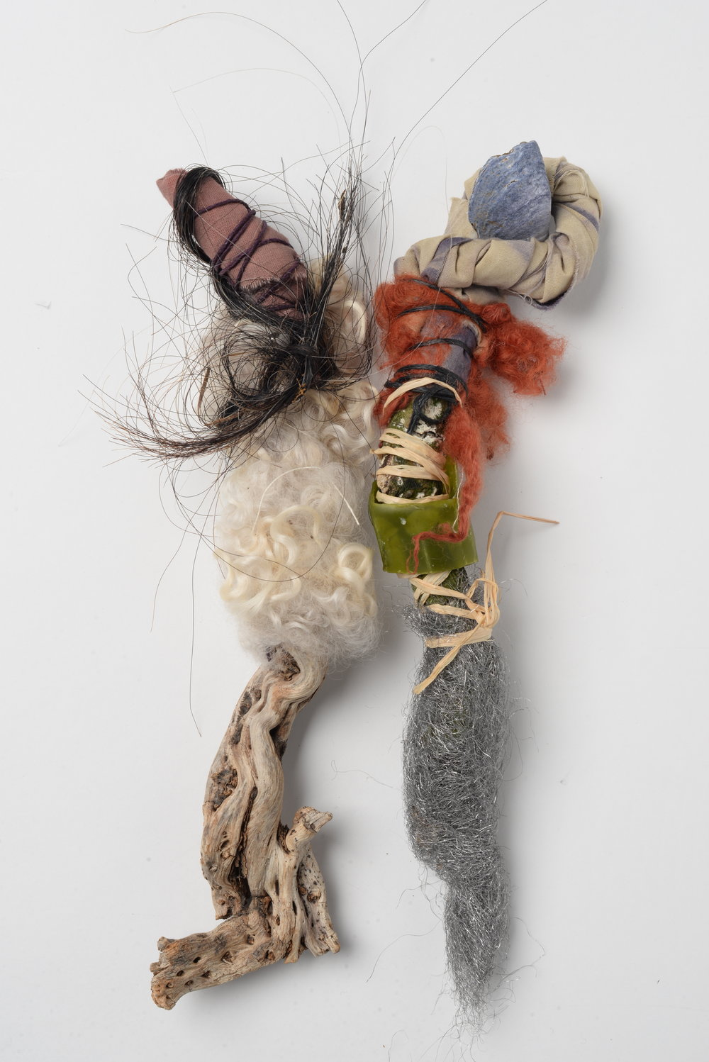 Family Tree (detail) ,   2017  wood, wire, wool, wax, raffia, horse-hair, twine, oyster-shell, wool, cotton h30cm