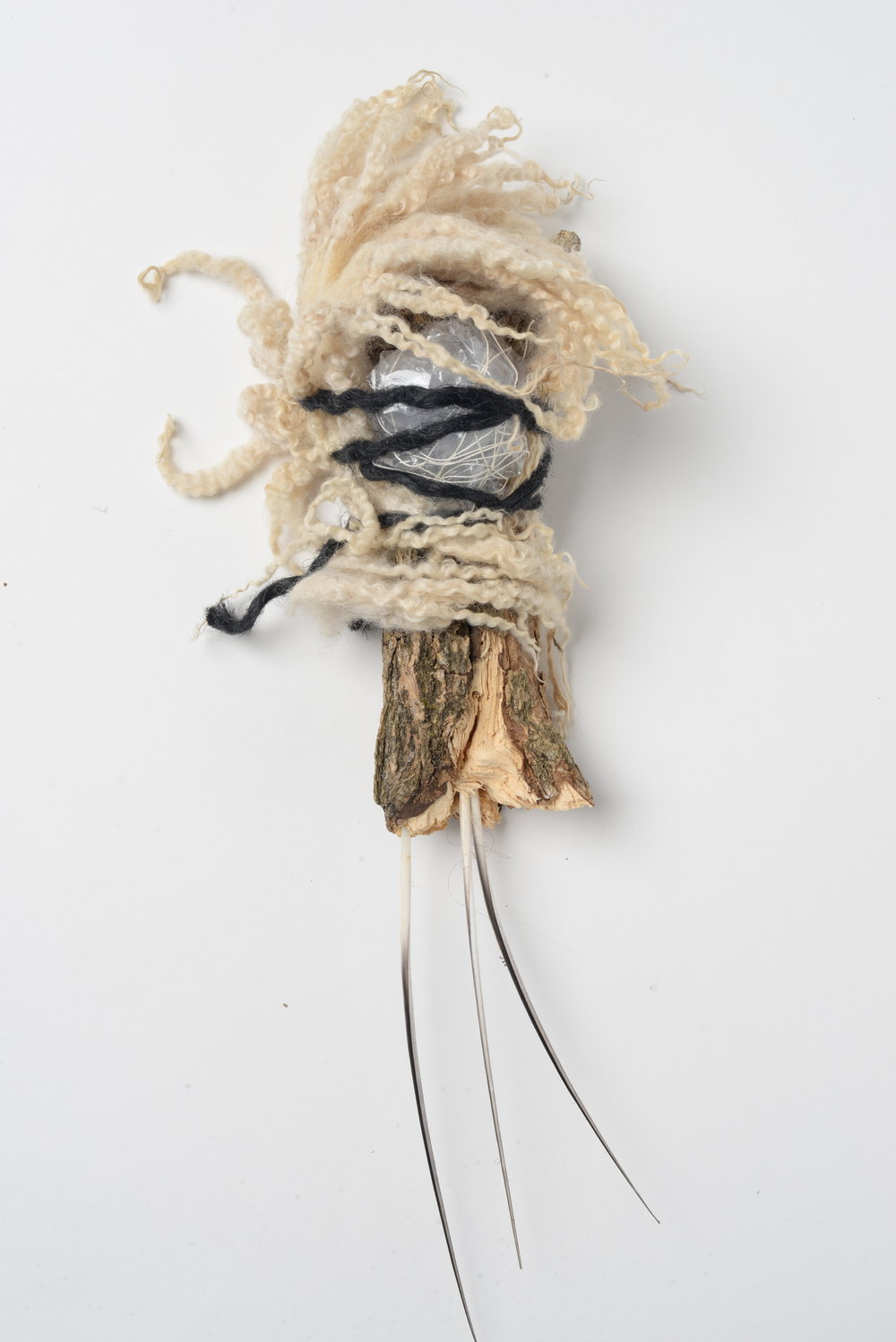 Night Rider 4 ,   2017 bark, quills, wool, rope, thread, plastic bag h32cm