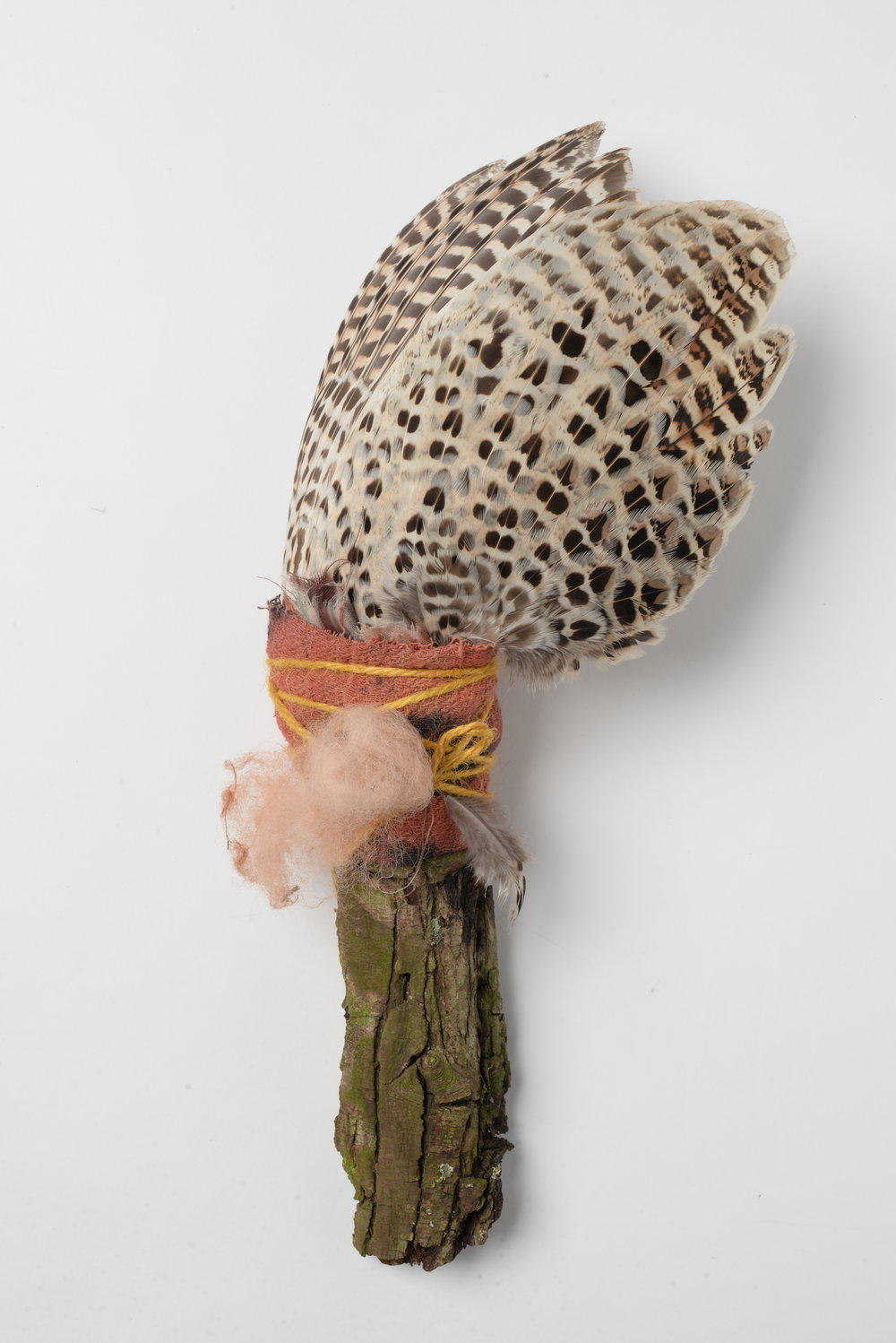Praise Be 2,    2017 pheasant wing, wood-bark, wool, string h30cm