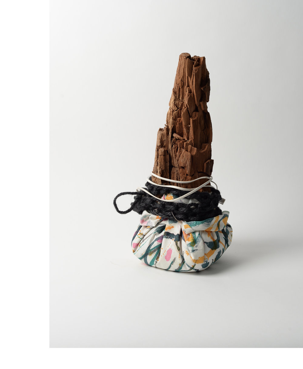 Table-cloth Mountain,  2018 painted tablecloth, wood, rice, rope, cable, string h44cm