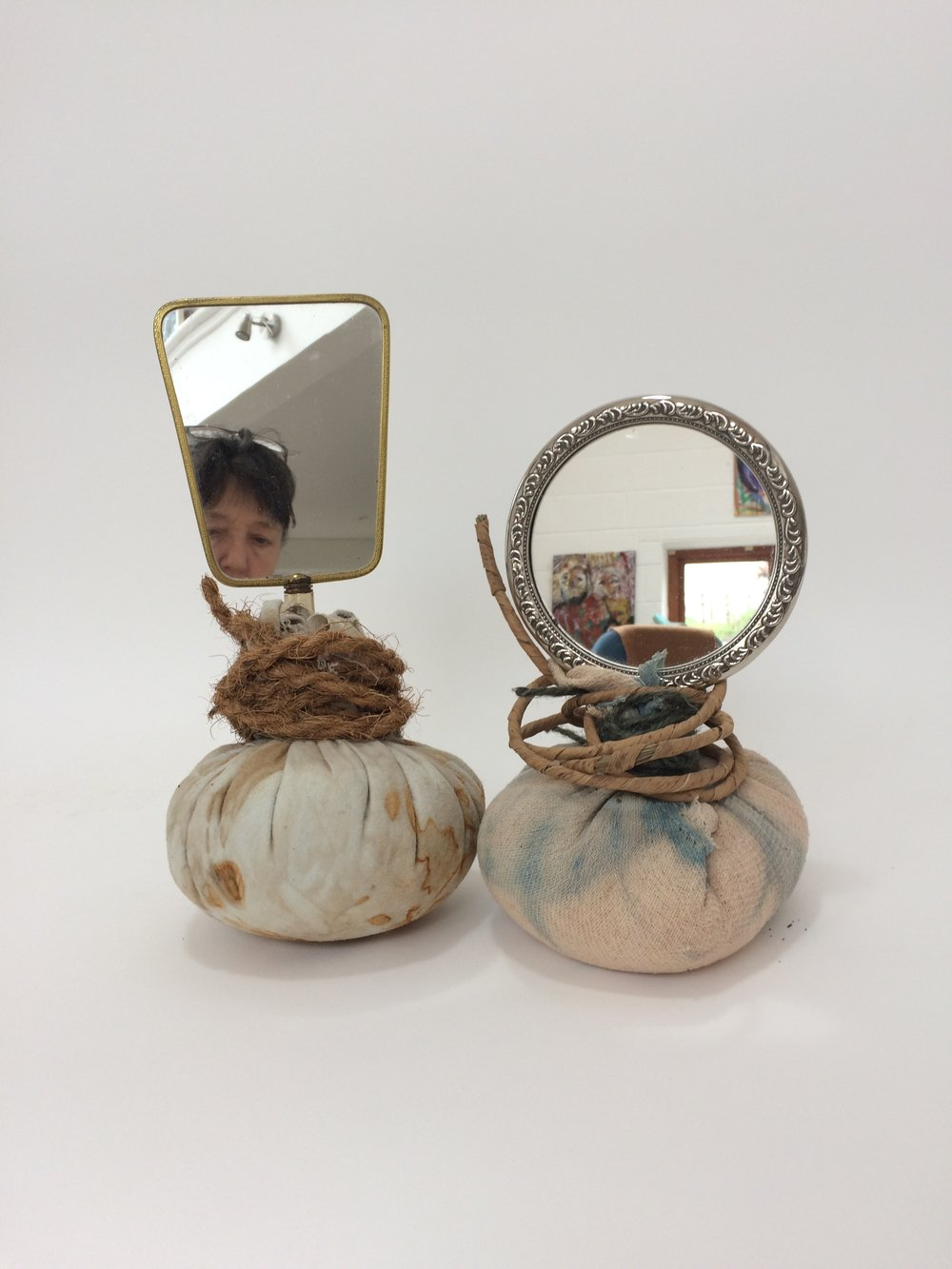 Selfie,  2018 hand mirrors, eco-printed cloth, rope, twine, rice h32cm