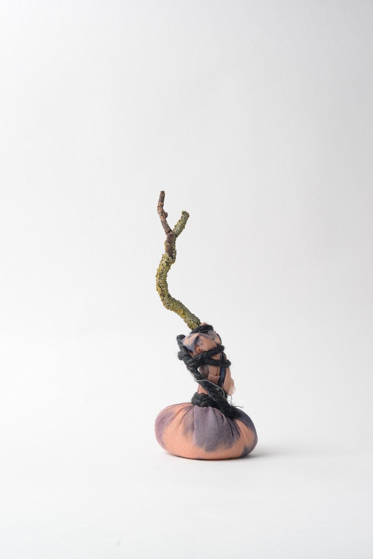 Untitled (still) 2017 cloth, twig, rice, string, rope h32cm