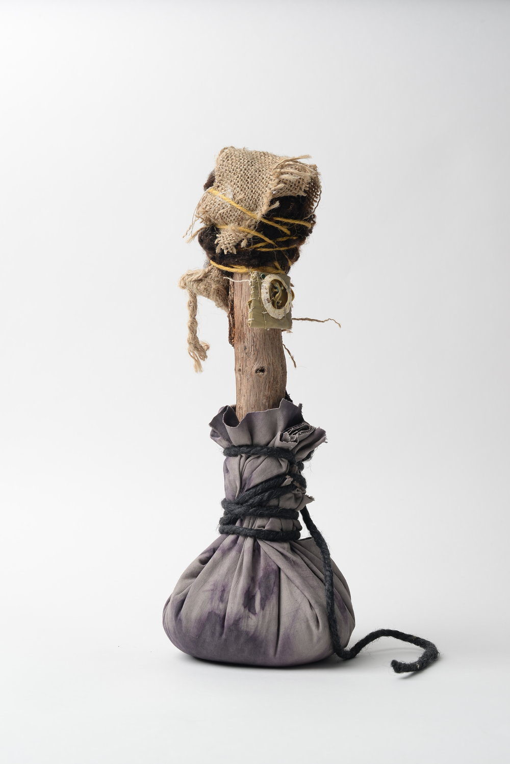 Untitled (duo)  2017 wood, cloth, rice, wool, hessian, string, rope, token of gratitude h 34cm