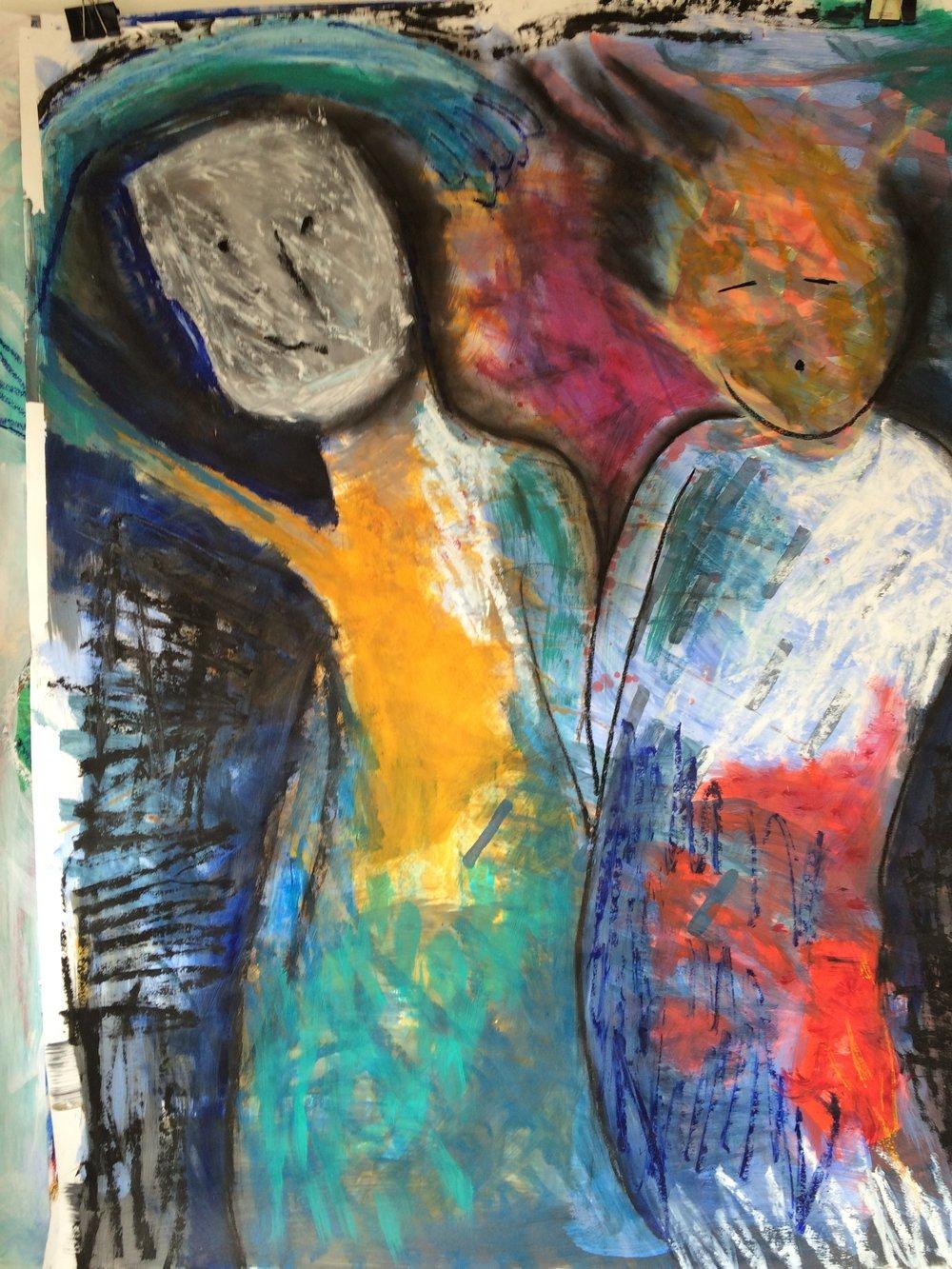 Ancestors 1 , 2016 acrylic and oilstick on paper 100x68cm