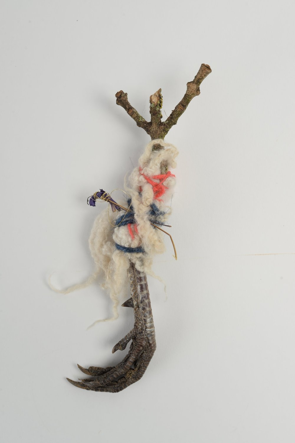 Untitled (claw),    2018 pheasant claw, twig, wool, thread, wire h20cm