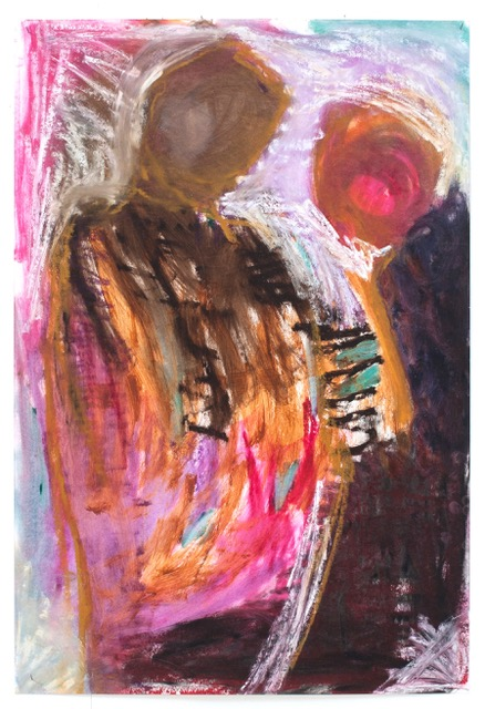 Come Stand with Me,  2016  acrylic and oil stick on paper 100x68cm