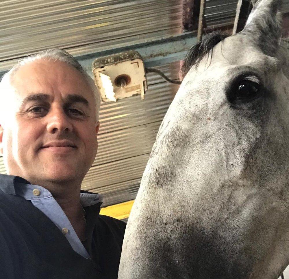 Robert LeFranc and his TB racehorse, Shotgun Queen