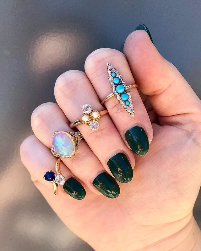 A few of our favorite things 💎💙 DM for details.  #antiquering #rosecutdiamond #antiquenavette #navettering #antiqueopal #opalring #toietmoi #antiquediamondring #victorianring #etsy #instore #carlsbadvillage #coppercanary
