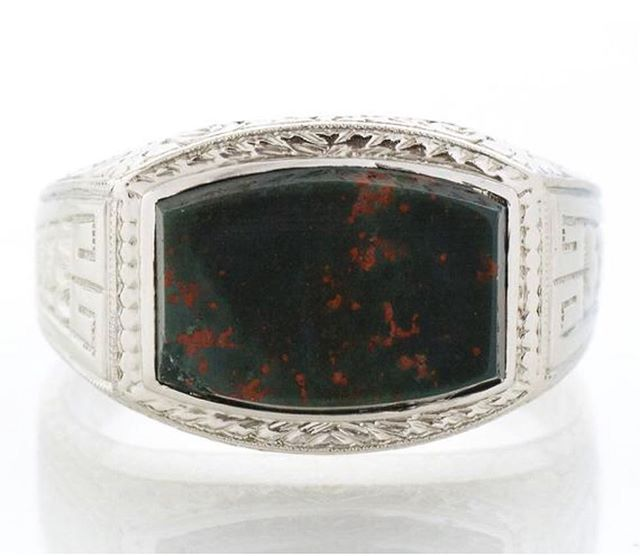 Bloodstone! Hard to find, especially in an antique setting like this one. The bloodstone is from the chalcedony family and features vivid red spots (iron oxide) among a background of dark green. Considered by many to be a very healing stone. Such a unique men's ring! Available on Etsy and in store.  #antiquebloodstone #bloodstone #bloodstonering #antiquering #mensring #1920s #etsy #instore #carlsbadvillage #coppercanary