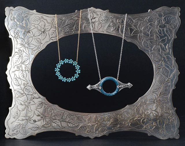 """Antique enamel conversion necklaces coming soon... maybe your wedding day """"something blue?"""" #antiquenecklace #somethingblue #vintagebride #enamelnecklace #weddinggift #antiqueconversion #conversionnecklace #etsy #instore #carlsbadvillage #coppercanary"""