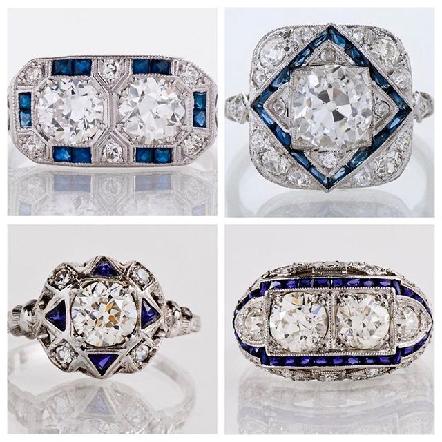If you could choose only 1... is it even possible?! 🤷🏻♀️🤤 Available in store and on Etsy. DM for details.  #artdeco #artdecoring #artdecoengagementring #antiquediamondring #frenchcutsapphire #oldeuropeancut #sapphireanddiamonds #somethingblue #1920s #engagementring #vintagebride #etsy #instore #carlsbadvillage #coppercanary