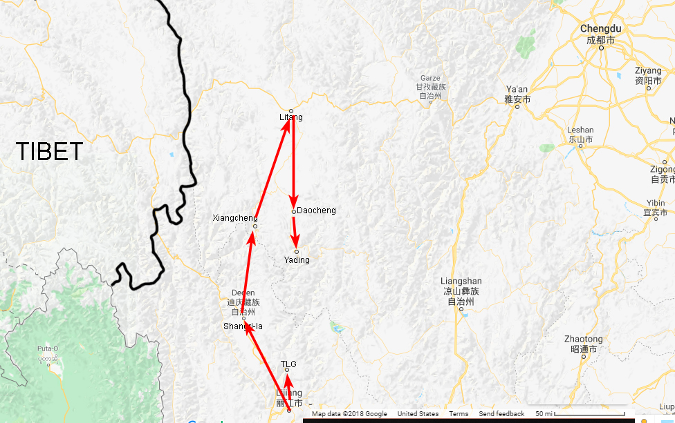 Map of the sites visited in Yunnan and Sichuan. Note that there is a sharp line just west of Chengdu where the number of roads drops precipitously.