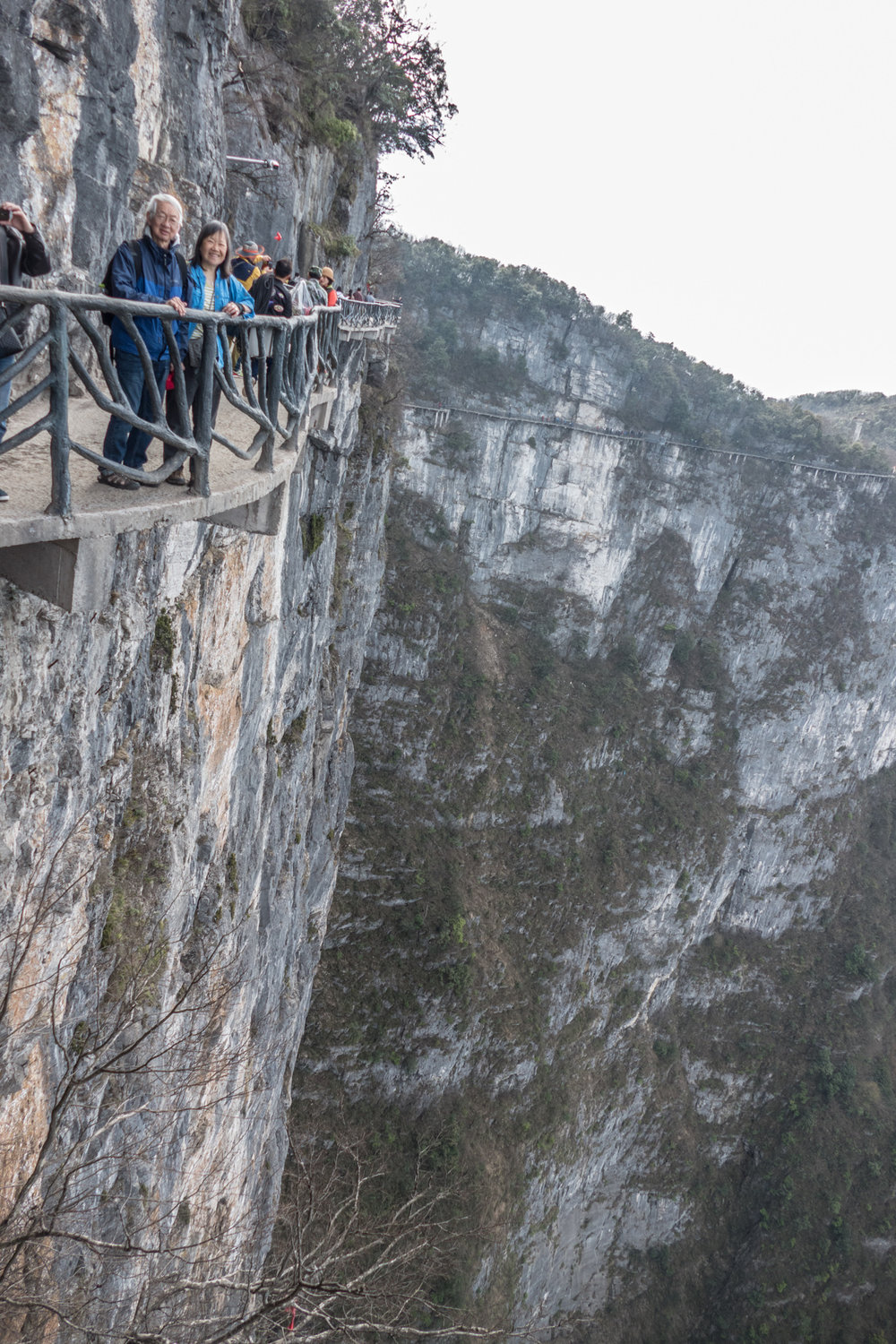 On one of many cliffwalks on Tianmenshan