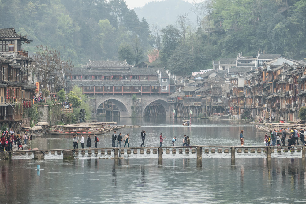 Bridges across the river in Fenghuang