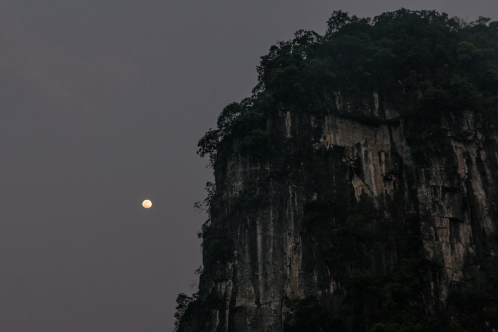 Rising moon over karst