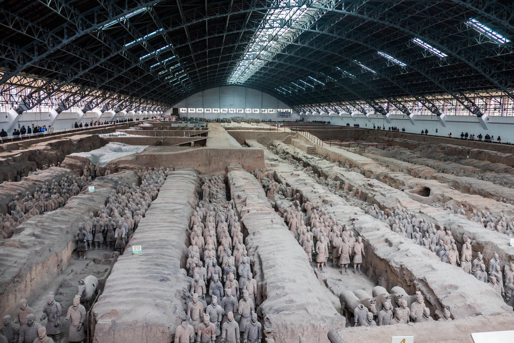 Pit #1 of the Terra Cotta Warriors. This is the largest of the 3 pits found so far.