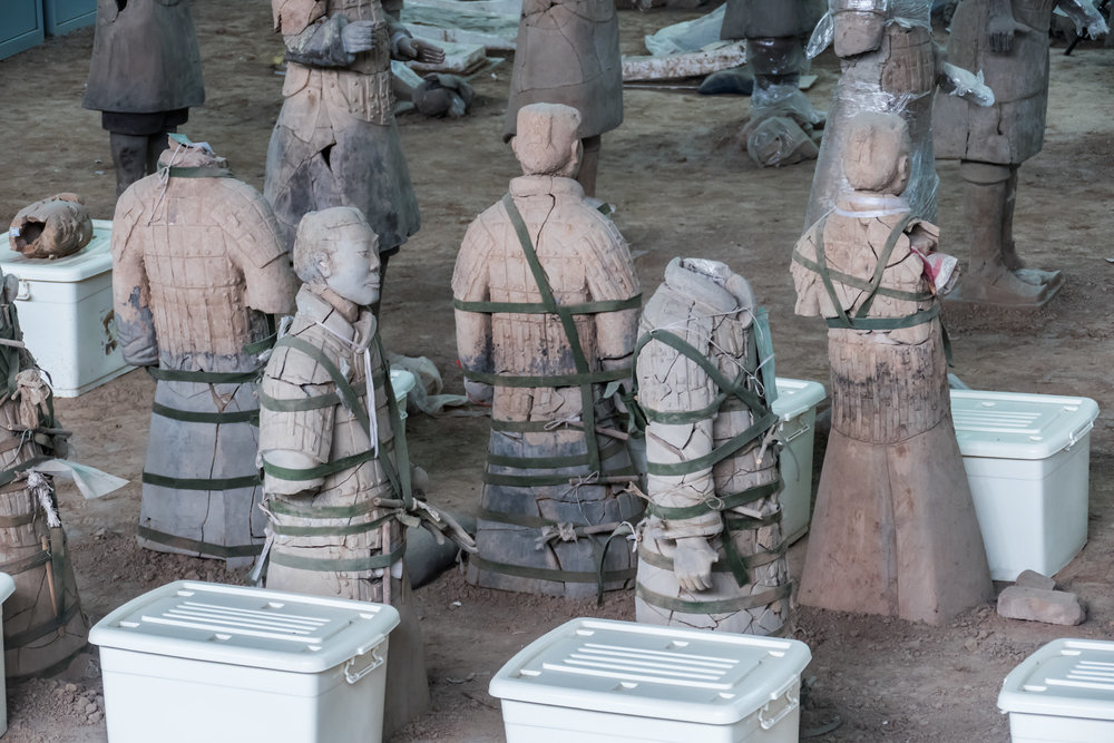Display of reconstruction of the warriors