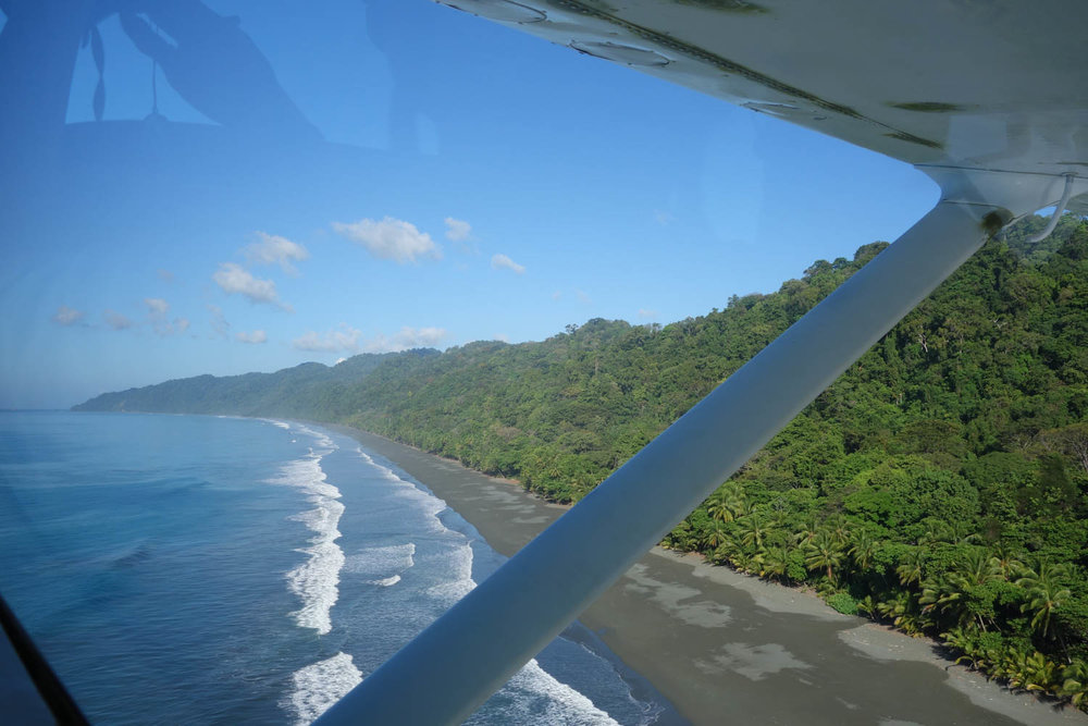View of beach from the plane