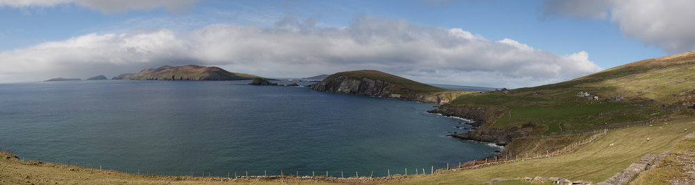 Panoramic view of the Dingle Peninsula with the Blasket Islands in the background